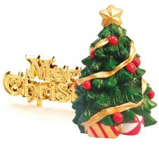Resin Traditional Xmas Tree with Merry Chirstmas Cake Topper
